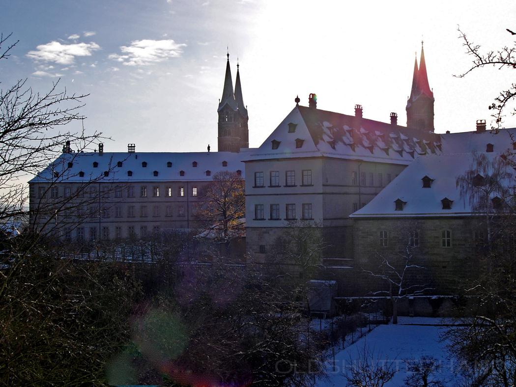 Blick vom Michelsberg auf die neue Residenz und den Dom in Bamberg