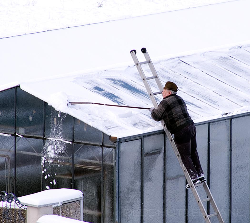 Mann auf einer Leiter