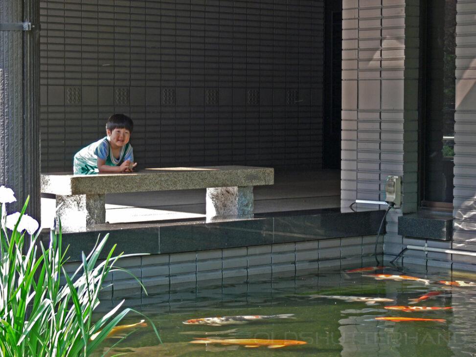 Junge am Teich