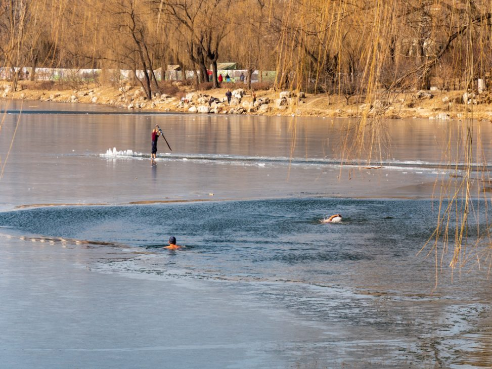 Eisschwimmer in Peking