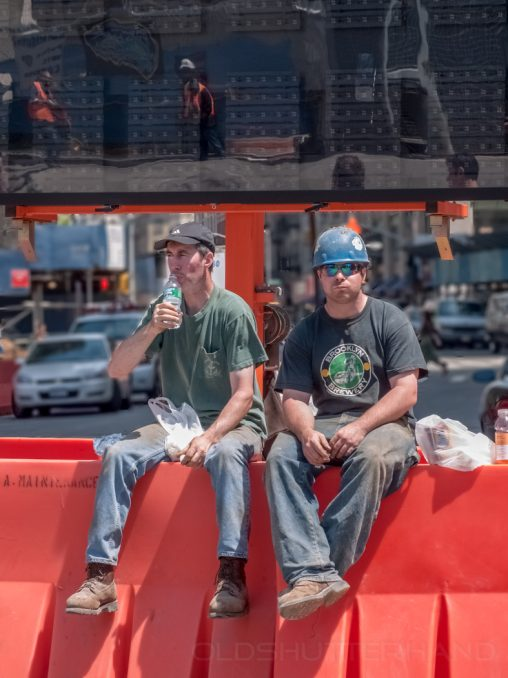 Workers at the World Trade Center Memorial construction site