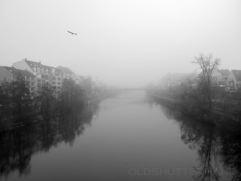 Nebel über dem Main-Donau Kanal in Bamberg