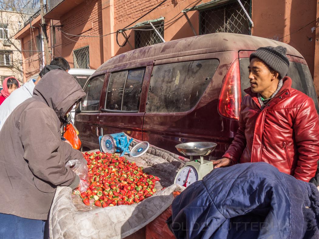 Erdbeerverkäufer in Peking